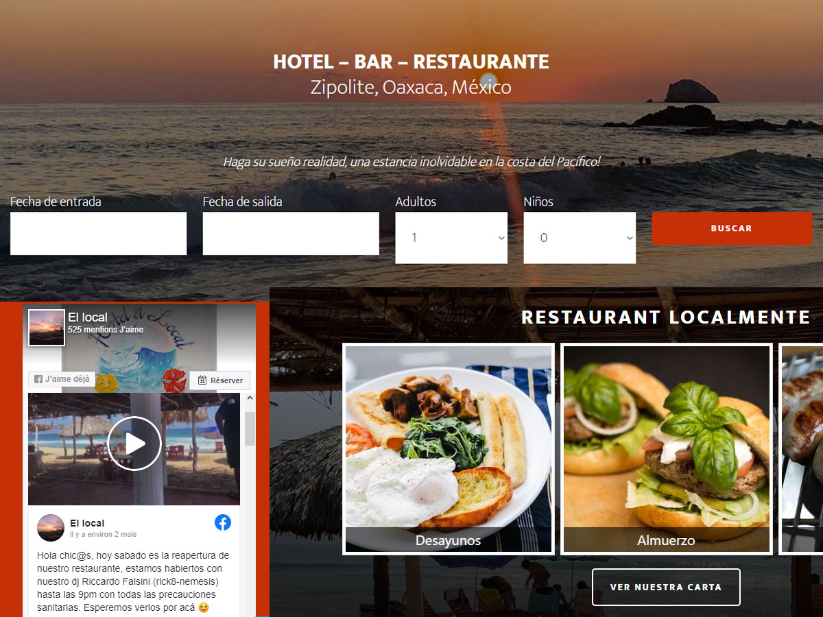 El Local Hotel-Bar-Restaurante à Zipolite, Oaxaca, Mexico