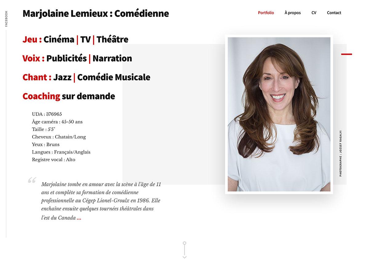 Marjolaine Lemieux-Comédienne-Voix-Chant-Coaching